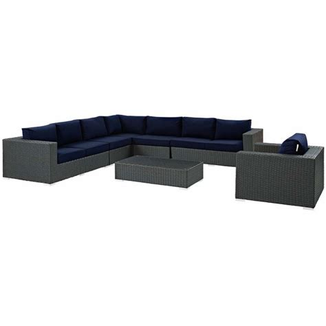 sunbrella sectional sojourn 7 piece outdoor patio sunbrella sectional set
