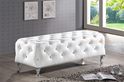 white bed bench modern black white faux leather crystal tufted bedroom