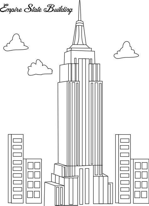 empire state building coloring page for kids