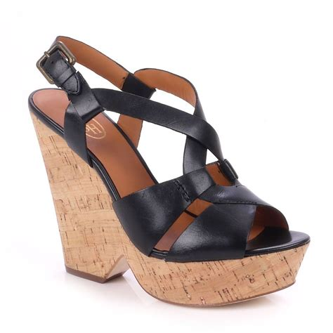 cork wedge sandal buy ash sandals black leather cork wedge sandal