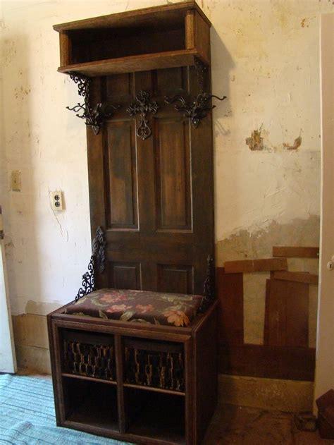 Repurposing Old Doors Pinterest Old Door Projects Hall Tree Recycled A Wooden Door Into