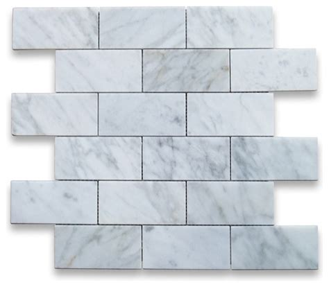 carrara white 2 x 4 subway brick mosaic tile polished marble from italy tile by stone