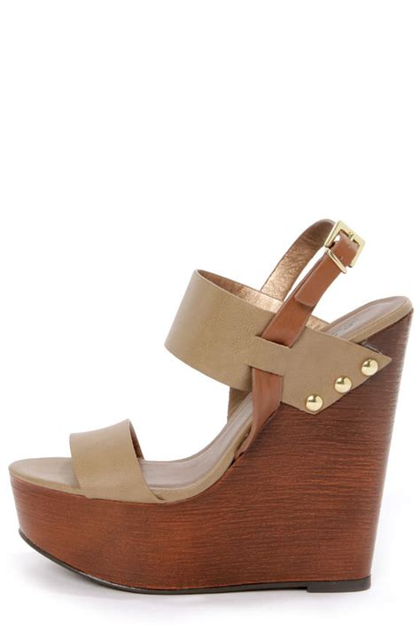 soda chef taupe wooden platform wedge sandals 29 00
