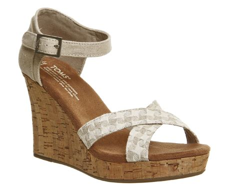 high heeled toms toms strappy wedge woven high heels