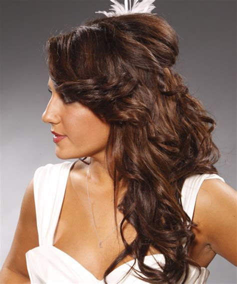 long curly formal half up hairstyle caramel brunette
