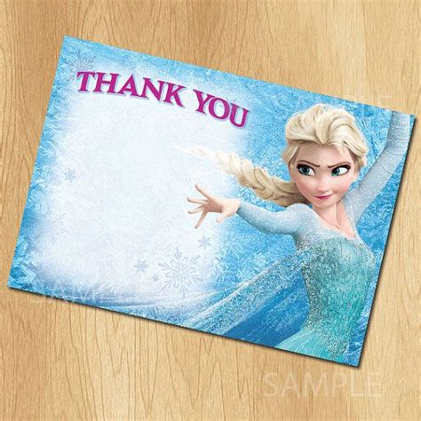 Frozen Thank You Card Template by Frozen Thank You Card Instant Printable Disney