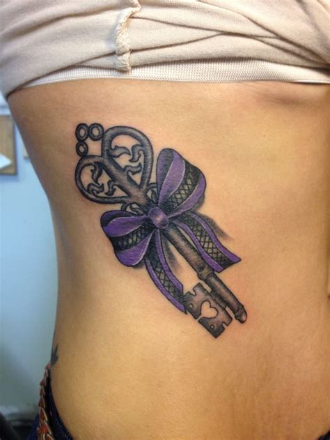 purple ribbon tattoo key and ribbon luirenzotattoos key