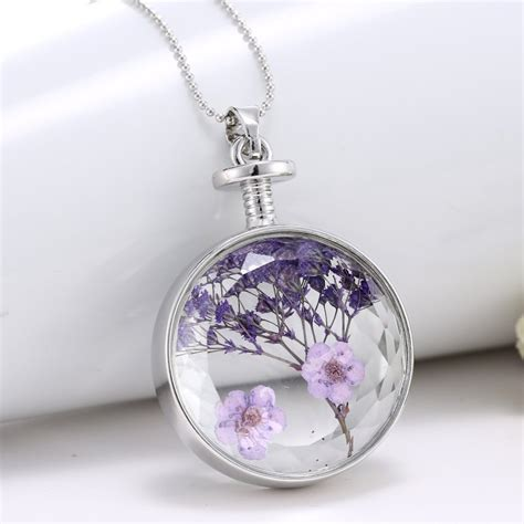 clear glass pendants for jewelry unique purple dried real flower clear glass locket pendant