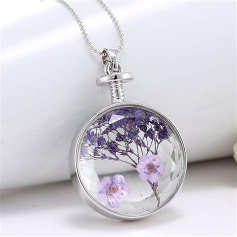 unique purple dried real flower clear glass locket pendant