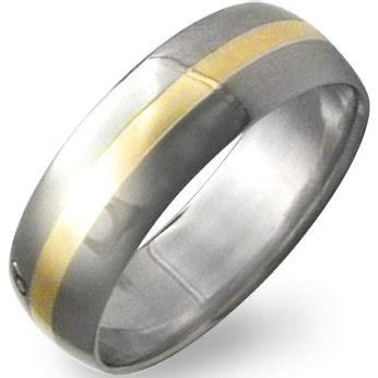 Cincin Titanium Ring 18k Gold titanium 18k gold inlay ring s titanium gold inlay wedding band from titanium buzz