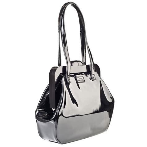 Lulu Guinness Shaped Handbags by Lulu Guinness Black Patent Leather Mid Pollyanna Bag
