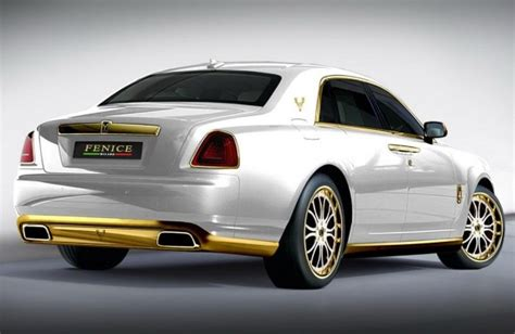 roll royce fenice rows of gold plated car