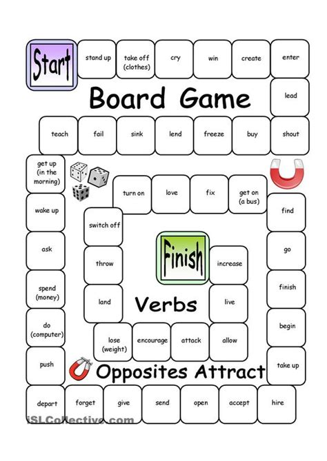 printable spanish board games board game opposites attract verbs esl teaching