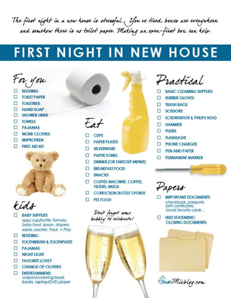 list of items to buy for a new house moving part 5 family s first night in new house checklist