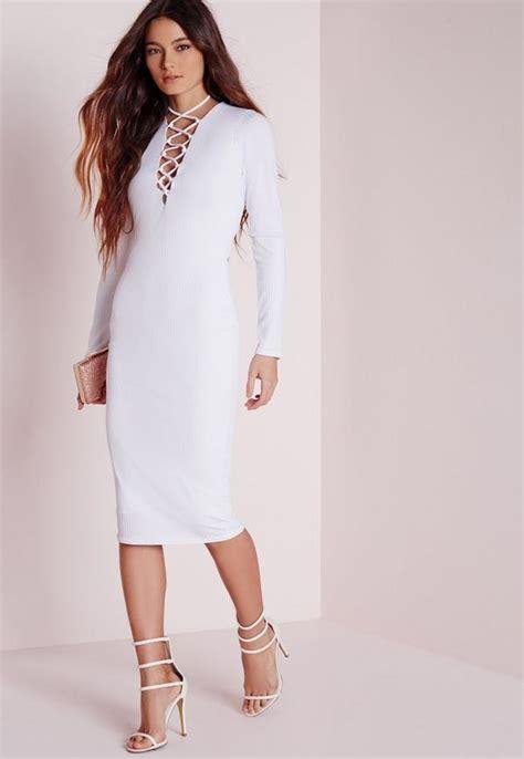Sleeve Lace Up Midi Dress ribbed sleeve lace up midi dress white missguided