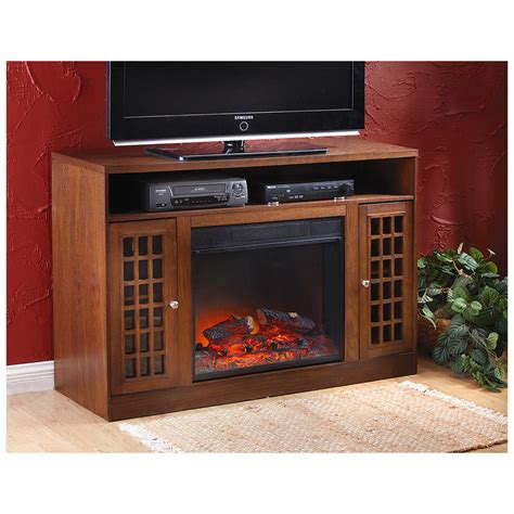 in fireplace heater castlecreek 174 mission style media stand fireplace heater