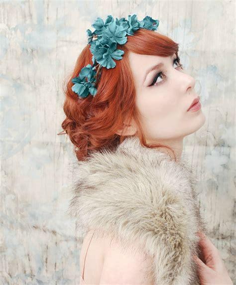 Diane Flower Headpiece woodland headpiece teal blue flower crown by gardensofwhimsy