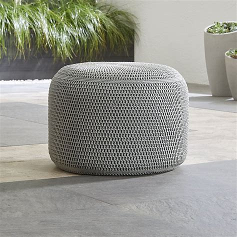 grey outdoor pouf reviews crate  barrel