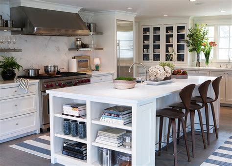 island bookcase cottage kitchen design