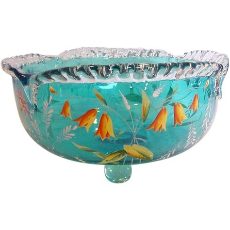 footed bowl centerpiece bright blue footed glass centerpiece bowl enameled flowers from