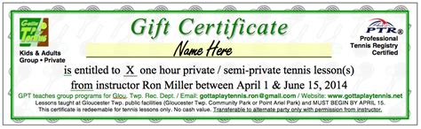 tennis gift certificate template gotta play tennis pre paid lesson gift certificates