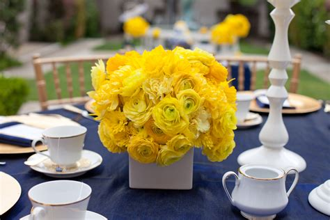 blue and yellow centerpieces royal wedding bridal shower yellow and blue wedding