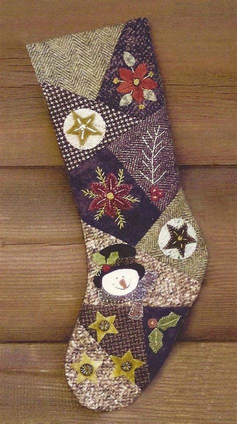 free pattern for primitive christmas stocking primitive folk art wool applique stocking pattern crazy