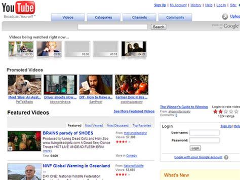youtube layout through the years trip down memory lane early designs of popular sites