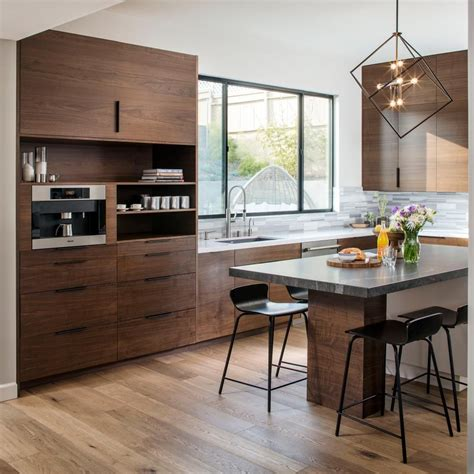 walnut kitchen ideas modern open concept kitchen infused with wood walnut