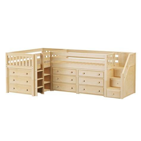 Corner Dresser Drawers by Maxtrixkids Tandem1 Ns Low Corner Loft W Ladder Staircase With 3 Drawer Dresser And