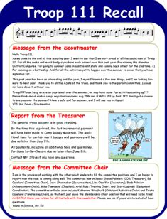 Boy Scouts Troop 111 Bradenton Fl Boy Scout Troop Newsletter Template