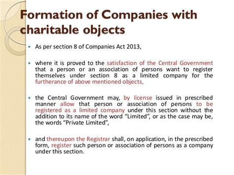 Section 8 Company by Section 8 Of Companies Act 2013