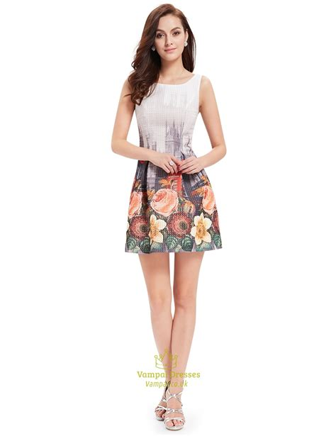 Mergory Flowery Flare Mini Dress vintage style floral print fit and flare summer sleeveless