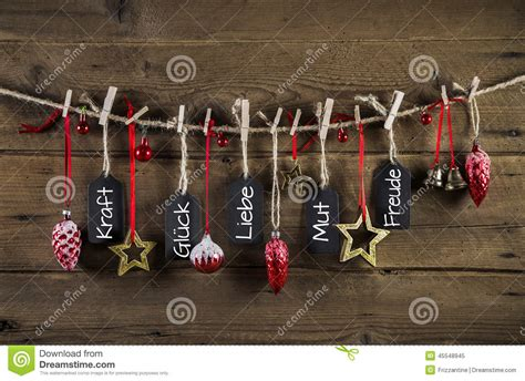 lucky colors christmas decor german card with text and decoration stock photo image 45548945