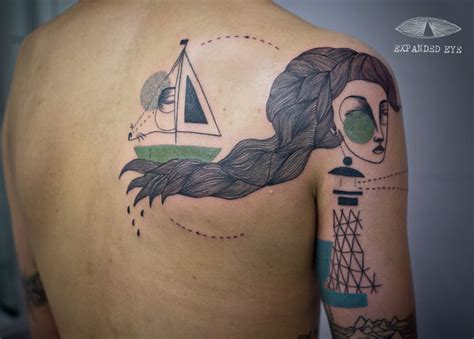 expanded eye tattoo uk artist duo create cubist tattoos inspired by clients
