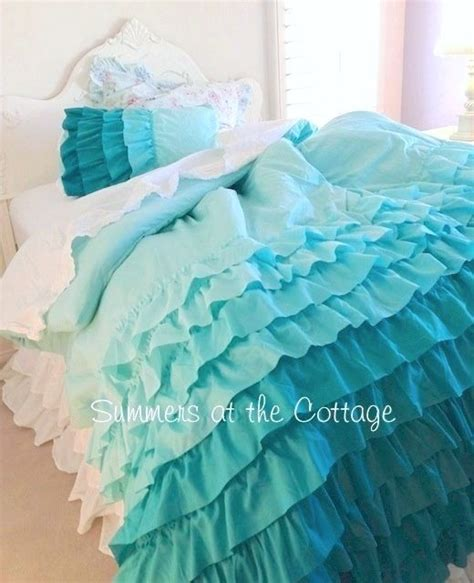 shabby beach cottage aqua ruffles chic comforter set twin
