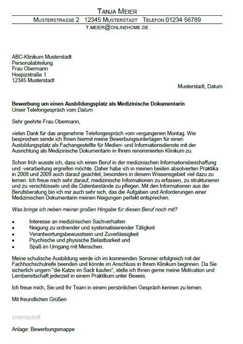 Anschreiben Mfa Nach Ausbildung Muster Bewerbung Medizinischer Dokumentar Fachangestellte F 252 R Medien Und Informationsdienste