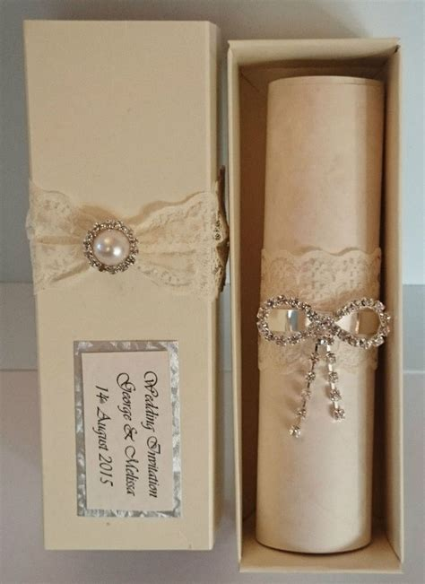 Scroll Wedding Invitations by Personalised Wedding Invitation Boxed Vintage Scrolls Lace