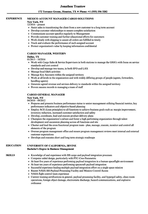 Cargo Supervisor Resume by Cargo Manager Resume Sles Velvet
