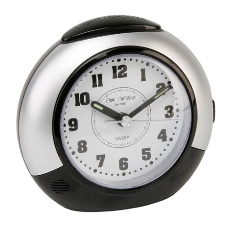no light alarm clock black silver bedroom alarm clock silent sweep no