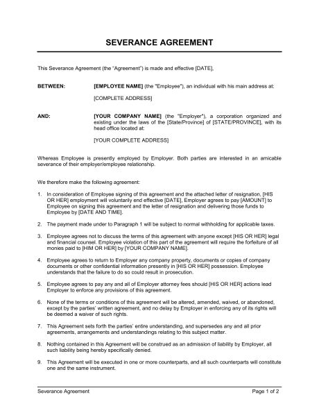 Severance Agreement Template Sle Form Biztree Com Severance Agreement Template