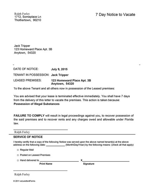 sle eviction notice letter florida florida 7 day notice to vacate ez landlord forms