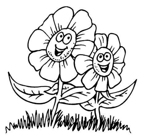happy flower coloring page spring flowers coloring page coloring home