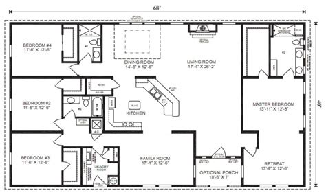 4 bedroom single wide mobile homes floor plans