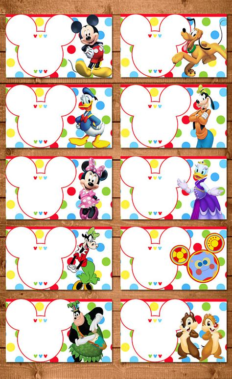 Label Stiker Nama Water Proof Size M Mickey Mouse Sh mickey mouse food tents dots chevron mickey mouse clubhouse