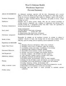 warehouse supervisor sle resume cv warehouse supervisor