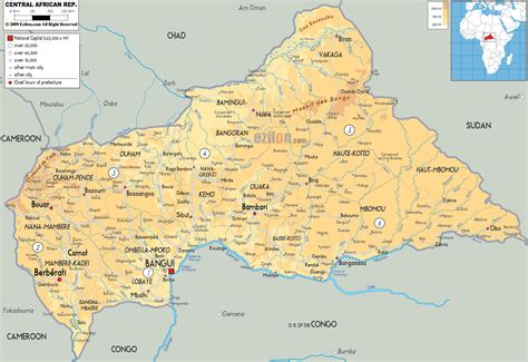 physical map of central africa physical map of central africa republic ezilon maps