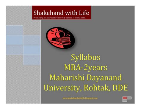 Mba Dde by New Syllabus Mba 2yrs Mdu Dde Rohtak
