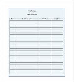 free task list template daily task list templates 8 free sle exle