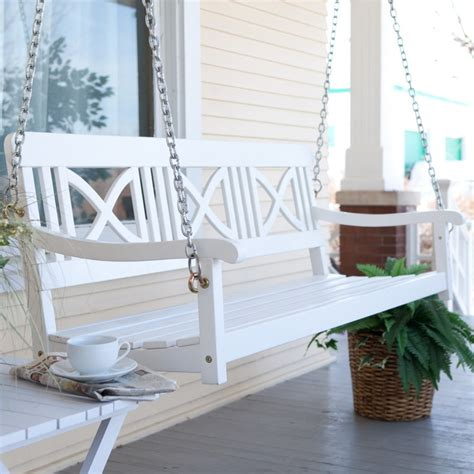 balcony swings matera crossback painted wood porch swing white porch